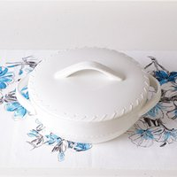 Wholesale-Durable 9in Creamy White Asian China Korea Porcelain Ceramic Round Covered Casserole Topf Suppentopf Bowl Kostenloser Versand