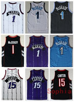 Wholesale North Blue - Men's #1 Tracy Mcgrady #15 Vince Carter Jersey North Carolina Throwback 100% Embroidery Logo Stitched College Carter Basketball Jerseys