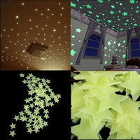 Wholesale Chart Stars - New 100pcs lot Glow Wall Stickers Decal Baby Kids Bedroom Home Decor Color Stars Luminous Fluorescent 4colors diameter 3cm
