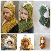 Wholesale Knitted Dinosaur Hat - KIDS Animal Hat Dinosaur bear Knitted Caps Winter Boy Girl Hats Children Warm Knitted Hooded Scarf Cap Kid Gifts KKA3453