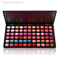 Wholesale Pro Makeup 66 Color - Wholesale-66 Color Pro Lip Gloss Lipstick Cosmetic Makeup Palette + 1pcs Stretch Brushes Fres Shipping