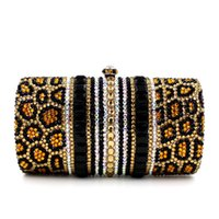 Wholesale Diamond Leopard Jewellery - Fashion Leopard Bag Bling Full Crystal Clutch Patch Work Cosmetic Bag HK crystal Diamond Bag Jewellery Case