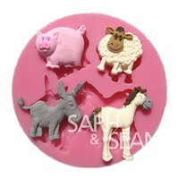 Wholesale 3d Sheep Soap - 3D M0192 cartoon animals horse cattle sheep cake molds soap chocolate mould for the kitchen baking cake tool DIY