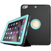 ipad stand hybrid achat en gros de-3 en 1 hybride Robot Defender Flip Housse rabattable en cuir robuste Revêtement de protection intelligent pour iPad mini 1/2/3/4 air2 Pro 12.9 10.5 9.7 2018