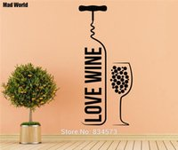 Pegatinas decorativas Mad World-Love Wine Bottle Wine Glass Art Stickers Decal Home Decoración de DIY Mural Removable Room Decor Wall