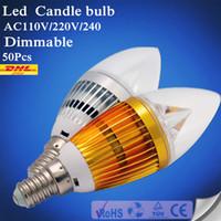 Wholesale Dimmable Led Candle Bulb B22 - E14 Candle light E12 E27 B22 AC 220V 110V LED Candle Bulbs 360 Degree bulb New Design lamp Replace Incandescent Light Energy Saving Dimmable