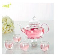 Japan Design Hohe Temperaturbeständigkeit Glas Teekanne Set 600ml Blume Teekanne + 1 runde Form wärmeren Basis + 4pcs 50ml Cups