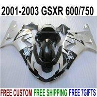 k1 gsxr schwarze silberne verkleidungen großhandel-Verkleidungsteile passend für SUZUKI GSXR600 GSXR750 2001-2003 K1 silber schwarz hochwertiges Verkleidungsset GSXR 600 750 01 02 03 EF4