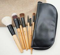 cepillo de madera para cimientos al por mayor-7 pcs maquillaje profesional cepillo de pelo animal mango de madera maquillaje cosmético sombra de ojos corrector cepillo conjunto kit con bolsa cosmética