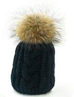 Wholesale Mink Cashmere Knitting Yarn - Winter Hat for Women Plus Size Genuine Mink Fur Pompom Hats For Women Winter Cable Knitted Cap Female Raccoon Skullies & Beanies