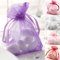 Wholesale Purple Organza Candy Bags - 200pcs Organza Bag Wedding Party Favor Decoration Gift Candy Bags 7x9cm (2.7x3.5inch) Pink   Red   Purple