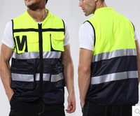 suppliers-suppliers Canada - Wholesale-Motorcycle Vest Visibility Night Safety Motorbike Reflective clothes Fluorescent yellow Breathable Protection Racing