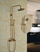 "Wholesale Faucets Antique - Wholesale And Retail Promotion Luxury Wall Mounted Antique Brass 8"" Round Rain Shower Faucet Set Dual Handles W  Hand Shower"
