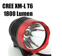 2 en 1 1800 Lumens CREE Bike Bicycle XM-L T6 LED Headlight projecteur lampe de poche lumière + Batterie 6400mAh Chargeur (Rouge)