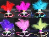 Wholesale Lady Masquerade - Mask feathers wedding party masks masquerade mask Venetian mask women Lady Sexy masks Carnival Mardi Gras Costume