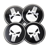 Wholesale 55mm Wheel Caps Sticker - 55mm 4 x Wheel Center Hub Cap Rim Punisher Skull Emblem Badge Decal Sticker