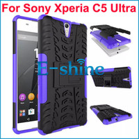 TPU + PC 2 en 1 Hybird Heavy Duty Case Rugger Armor Hard Kickstand contraportada para Sony Xperia C5 Ultra 8 colores por ePacket