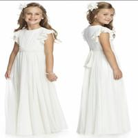 Wholesale Taffeta Chiffon Flower Girls - Simple Long Flower Girls Dresses 2015 Jewel Neck Pleated A line Fashion Chiffon Fabric Cute Kids Formal Wear Accessories Custom made