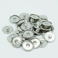 Wholesale Bezel Blanks Bracelet - JACK88 100pcs lot Round Snap Press Button For Bracelet Necklace Jewelry Silver Button Setting Blanks Fit 18mm Cabochon N907