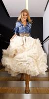 vestido de princesa gratis al por mayor-Vestido de bola blanco de organza Faldas de las mujeres Longitud del tobillo Pick Ups con volantes Vestidos de fiesta de la princesa encantadora Tamaño libre Vestidos informales