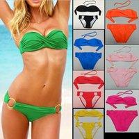 Wholesale Womens Padded Bikini Tops - Womens Sexy Summer Padded Swimwear Strapless Bandeau Bikini Top metal circle Bottom Beach spa Bikini Swimsuit