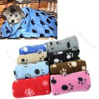 Wholesale Dog Couture - Wholesale-Hot Sale Lovely Design Pet Dog Cat Paw Prints Fleece Couture Blanket Mat New Free Shipping