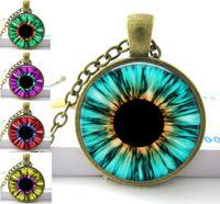 Wholesale Eyeball Glasses - Blue Green Pink Red Cat Eye Necklace Many Custom Options Realistic Animal Dragon Eyeball Pendant Steampunk Gothic Necklace