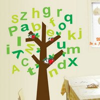 Wholesale Decorative Wall Decals Trees - Alphabet 26 Characters A to Z Apple Tree Wall Stickers for Kids Nursery Room, PVC Removable Decorative Wall Decals Home Decoration Wall Art