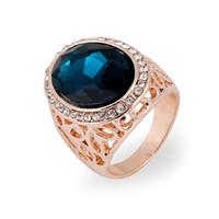 ingrosso oro blu zaffiro anello oro-2014 moda ovale blu zaffiro gioielli di lusso unisex in oro 18k strass placcato scava fuori anello di cristallo austriaco per gli uomini / donne