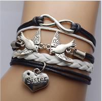 Wholesale Sideways Love Bracelets - friendship infinity Bracelets Loving Bird Sister Sideways Charm infinity Wristband girls christmas gift can pick up color