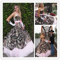 Wholesale Tulle Underlay Dress - 2017 sheer camo wedding dresses forest wedding a-line sweetheart pick up skirt bridal gowns with pink tulle underlay and big bow sash