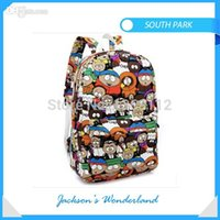 Wholesale Thermal Backpacks - Wholesale-2015 fashion thermal wholesale custom kids children outdoor bicycle canvas high school cartoon south park backpack bag mochila