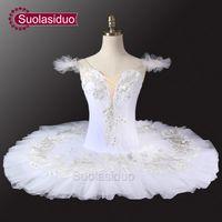erwachsene schwan kostüm großhandel-Erwachsener weißer Swan See-Ballett-Ballettröckchen-Mädchen-Fachmann für Performermance klassisches Ballett-Ballettröckchen-Pfannkuchen Chirldren Dancewear Kostüme SD0022