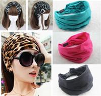 Wholesale Female Sports Wear - Cotton Elastic Wide Sport Headband Women New Variety Of Wear Method Gym Turban Stretch Yoga Head Band Hair Accessories For Women