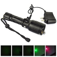 Atacado-2 em 1 recarregável 1800 Lumen Red Laser Laser lanterna LED 4-Mode Verde Lanterna Tocha Zoomable Flash Light + Carregador
