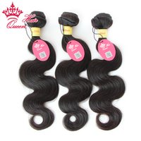en kaliteli atkı saç uzantıları toptan satış-Kraliçe Saç Karışık Boyutu 3 adet En Kaliteli Perulu Bakire Saç Uzatma Vücut Dalga Makinesi Atkı 12