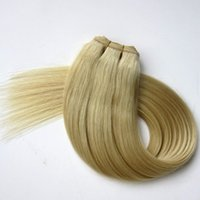 Wholesale platinum blonde hair extensions weft - 100% Human Hair wefts brazilian hair bundles 100g 20inch #60 Platinum Blonde Straight hair weaves tangle free Indian hair extensions