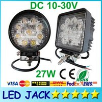 Square Round 27W Inondation Spot Beam Offroad LED Work Light Truck Bateau Camping DC 12V 24V Off Road LED Lampe de travail durable