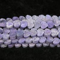 Wholesale gemstone heating - 10mm 15.5inch Titanium Purple Druzy Agate Bead Natural Heat Gemstone Crystal Quartz Druzy Agate Necklace Pendant Jewelry Make Connector