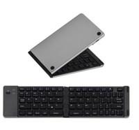 Wholesale Ipad Mini Systems - F66 Bluetooth 3.0 Wireless Mini Keyboard Foldable Aluminum Alloy Portable keyboard For iPhone iPad Support iOS Windows Android System