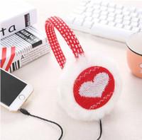 musikpelz großhandel-Großhandels-Warmes Wolle-Plüsch-Unisexwinter-Ohrenschützer Thermal-Ohrenschützer-Kopfhörer Ohr-Muff-Musik-Kopfhörer-Ohr-Wärmer-Schutz für iphone