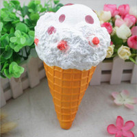 Wholesale Ice Cream Cone Toy - Squishy Large Ice Cream Cone 19cm Slow Rising Relieve Stress Cake Sweet Animal PU Cell Phone Strap Phone Pendant Key Chain Toy Gift