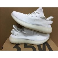 Wholesale Fluorescent Shoe Laces - Kanye West Boost 350 V2 CP9366 CREAM WHITE CORE WHITE Triple White Fluorescent 14Colors Mens Running Shoes DHL Shipping 14