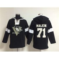 Wholesale Penguin For Sale - #71 Penguins Evgeni Malkin Hockey Hoodies Black Ice Hockey Sports Hoodies Cheap Winter Outdoor Sportswear Mens Lace Up Hockey Wears for Sale