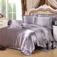 Wholesale Lavender Duvet Queen - Solid Color Satin Silk Bedding Sets Home Textile 4 Pcs Twin Queen King Size Linens Bedding Sets Luxury Soft Duvet Cover Bedclothes