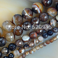 Wholesale loose faceted gemstones - Wholesale Faceted Coffee Striated Agate Round loose stone jewelry Beads Natural Gemstone agate BeadsFree Shipping