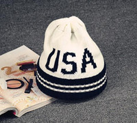 Bonnet Blanc Pas Cher-New Mens Womens USA Stripe Bonnet Knitting Unisex Cap Skull Beanie Hip-hop Caps Hiver chaud Knit Chapeaux Bonnets Noir Rouge Blanc