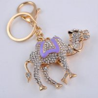 Wholesale Crystal Gifts For Men - Camel Key Chains Gold Plated Holding Ring Clear Rhinestone Animal Keychain Keyring Women Metal Keychain For Car Gift For Men