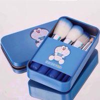 Wholesale Doraemon Birthday - Carton 7Pcs Makeup Brushes Doraemon Make Up Cosmetic Brush Kit Cartoon Makeup Brushes Set in Blue Metal Case Birthday Gifts Free DHL