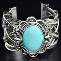 Wholesale Tibet Silver Cuff Bracelet Turquoise - Retro Style Tibetan Silver Plated Big Oval Turquoise Flower Turquoise Cuff Bangle Bracelet for girl women's Gift MB124
